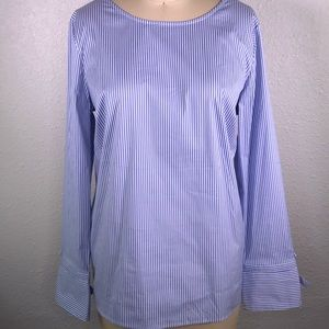 Talbots Button Back Bow Cuff Blouse
